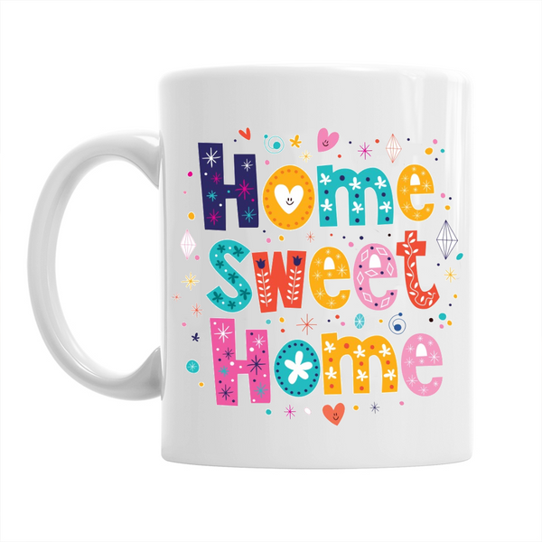 Housewarming Gift, Stunning Home Sweet Home, 10oz Ceramic Coffee Mugs