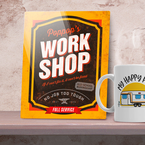 PopPop Gift, Birthday Gift For PopPop! PopPop's Personalized Workshop Sign, Present, New PopPop Gift, To Be, Picture Frame, Christmas Gift