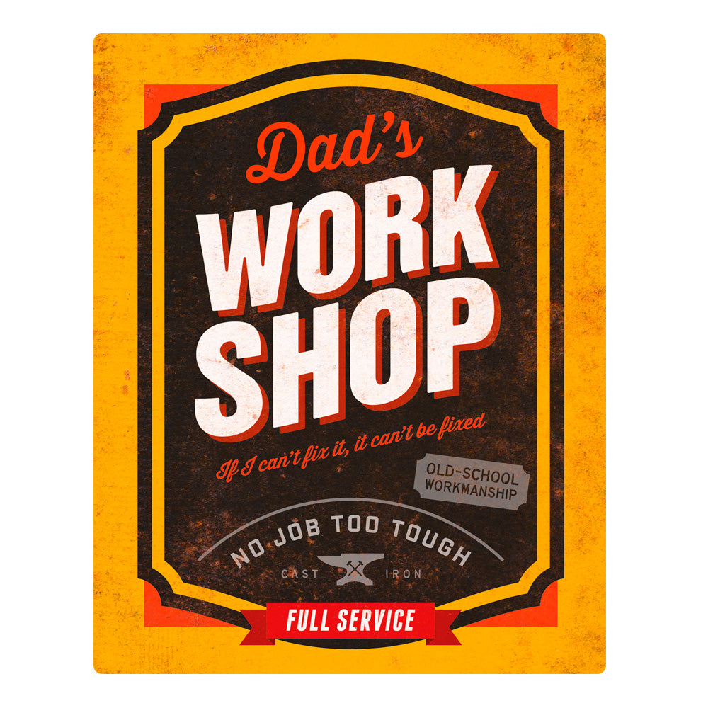 Dad Gift Daddy Birthday For Dads Work Shop Wall Art Pres Design Invent Print