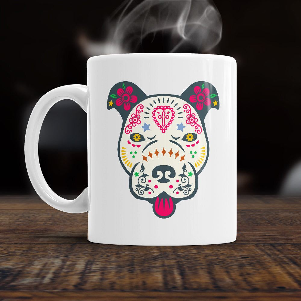 Pitbull Sugar Skull Gift,  Sugar Skull Mug,  Sugar Skull Coffee Mug, Halloween Gift,  Halloween Mug, Home Décor, Kitchen, Ornament, Décor