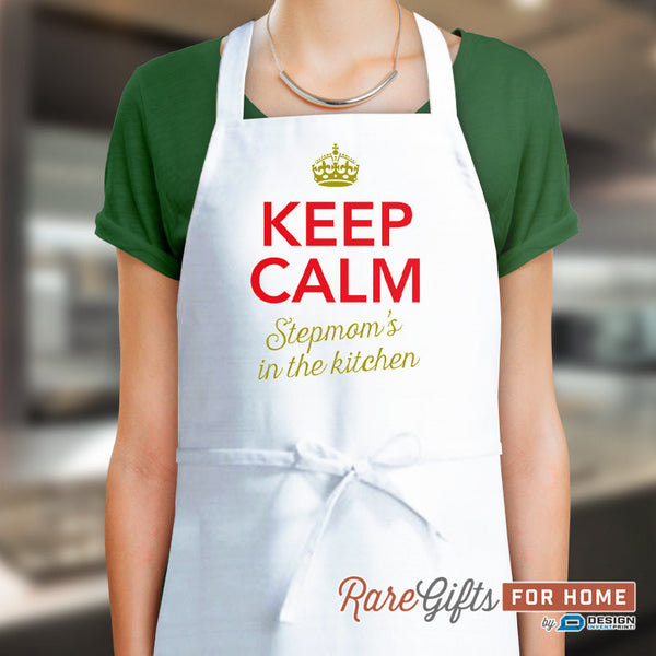 Stepmom Gift, Birthday Gift For Stepmom! Funny Apron, Keep Calm Stepmom, Cooking Gift, Awesome Stepmom, Personalized, Present For Stepmom