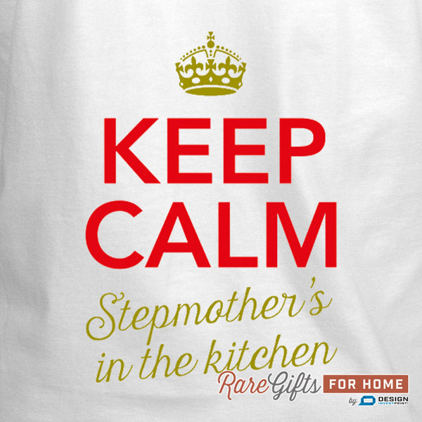 Stepmother Gift, Birthday Gift For Stepmother! Funny Apron, Keep Calm Stepmother, Cooking Gift, Personalized, Present Stepmother
