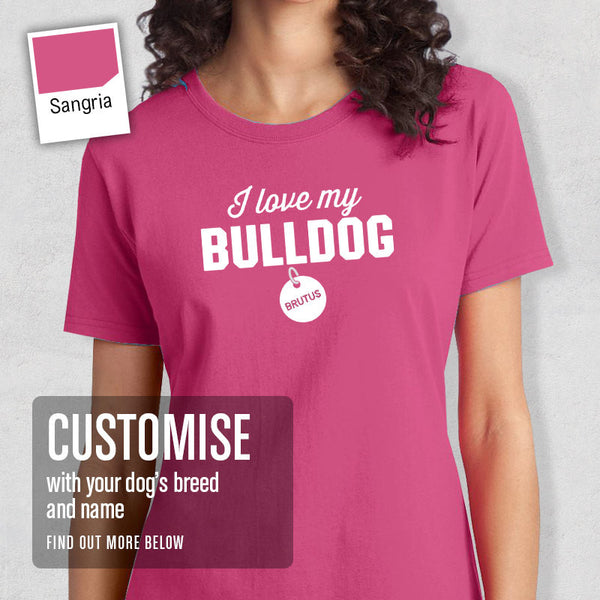 Bulldog Shirt, Custom Dog Tag T-Shirt, Personalized Bulldog With Message And Pets Name, Bulldog T-Shirt, Bulldog Gifts, Dog Tee Shirt