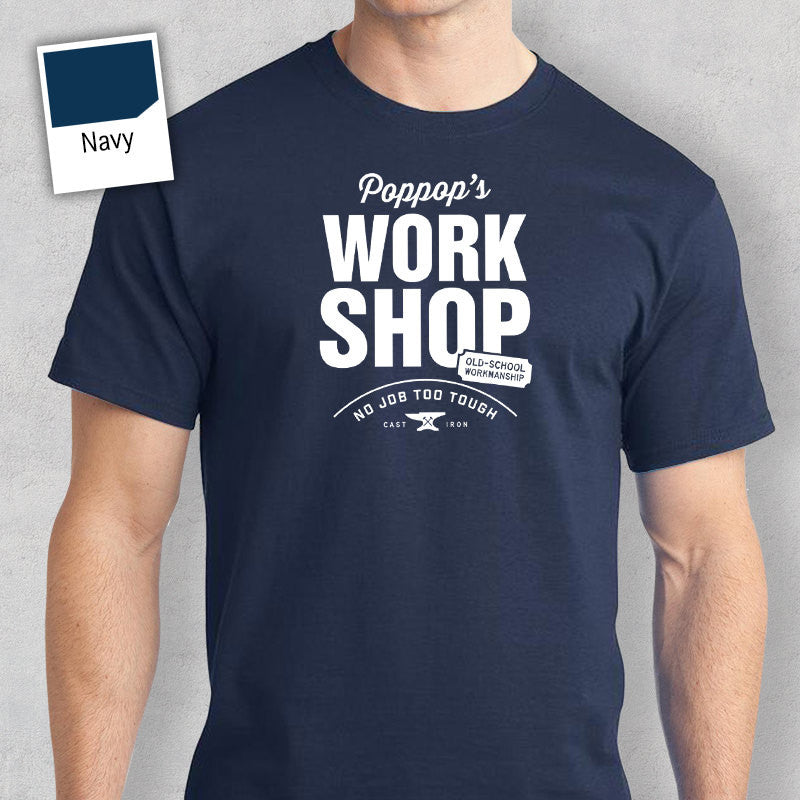 Poppop's Work Shop T-shirt, Personalized Poppop Gift. Tee Birthday Gift For Poppop! Poppop Gift, Poppop Shirt! New Poppop Gift