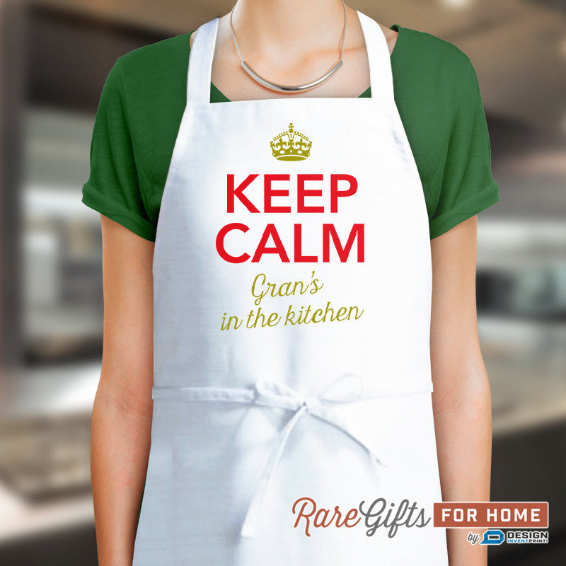 Gran Gift, Birthday Gift For Gran! Funny Apron, Keep Clam, Gran's In The Kitchen, Awesome Gran, Personalized Gran Gift