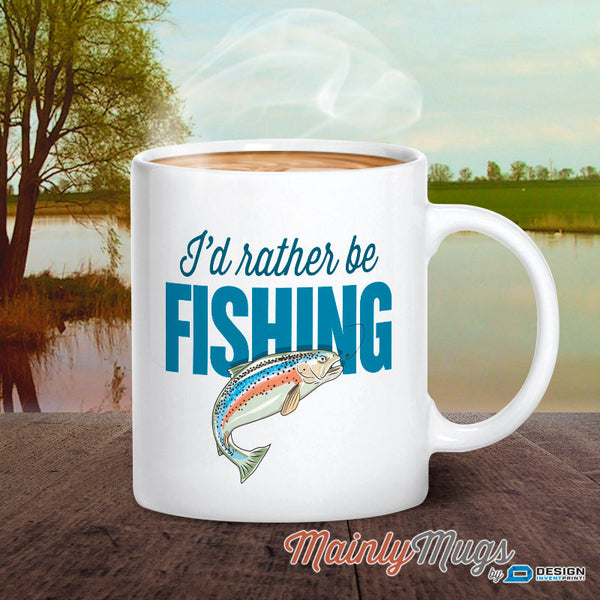 Fishing Gift, Fisherman Gift, Gift For Fisherman, Gone Fishing With Fishing Mug, Fishing Quote, Fishing, I'd Rather Be Fishing! Fish Glass