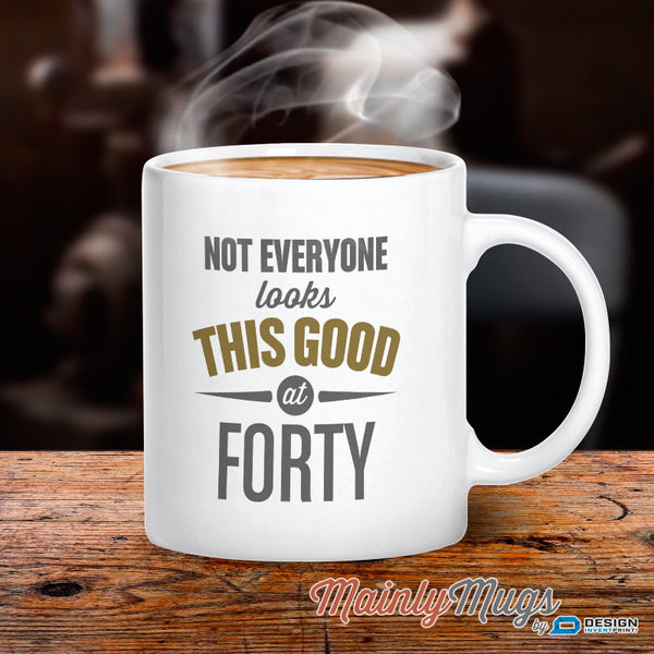 Mainly Mugs 40th Birthday Gifts 10oz White Ceramic Coffee Mug for Men Women Keepsake Present