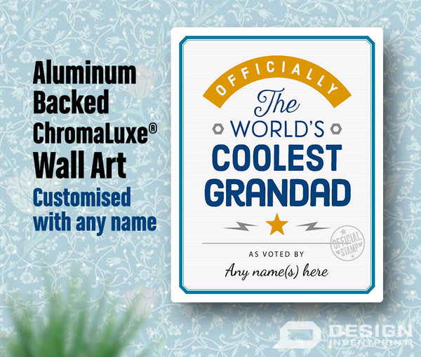 Grandad Gift, Cool Grandad, Personalized Grandad Gift. Birthday Gift For Grandad! Grandad Of The bride, Grandad To Be, Shipped To Your Door!