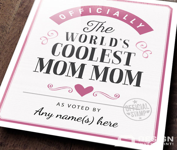 Mom Mom Gift, For New Mom Mom! Birthday Gift For Mom Mom! Mom Mom To Be, Mom Mom Print, Picture Frame, Personalized, Delivered To Your Door