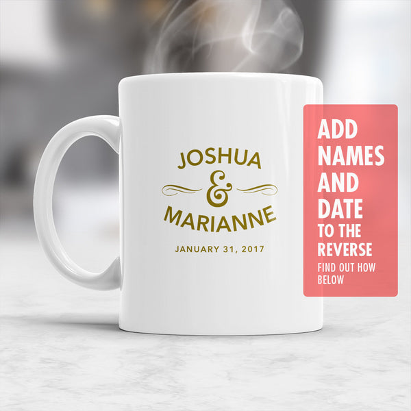 Custom Name Wedding Mug, Design & Print Only, Must Be Ordered With A Main Mug Purchase