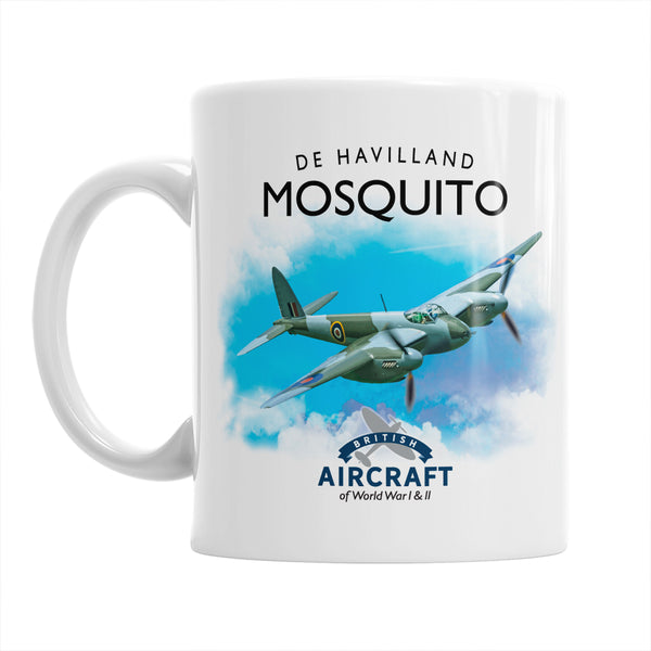 De Havilland Mosquito Mug, Illustration, Detailed Vintage Mosquito Gift, Unique and Original WWII Gift