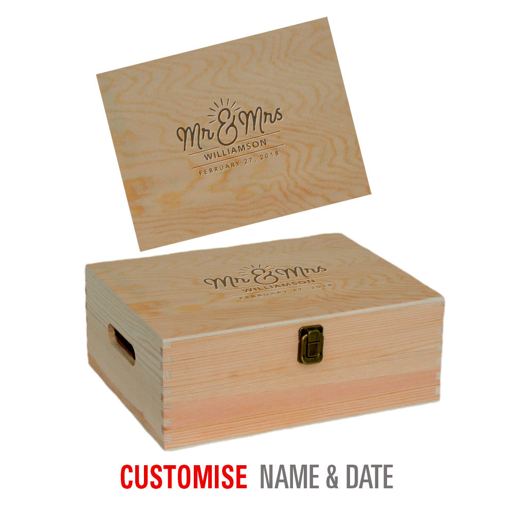 Bride & Groom, Mr & Mrs, Wedding Keepsake, Laser Engraved Personalised Wooden Box, His And Hers Gift, Makes Perfect Couples Gift