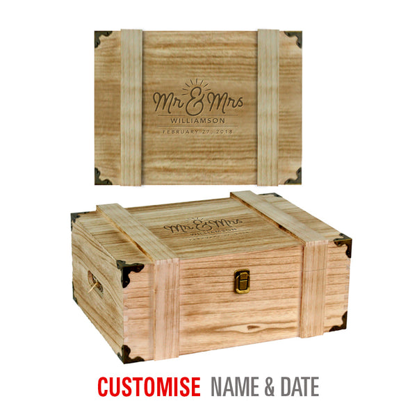 Bride & Groom, Mr & Mrs, Wedding Keepsake, Laser Engraved Personalised Wooden Shallow Wooden Chest or Wine Box, His And Hers Gift, Makes Perfect Couples Gift