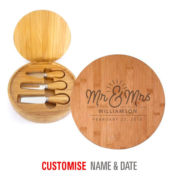 Bride & Groom, Mr & Mrs, Wedding Keepsake, Laser Engraved Personalised, His And Hers Gift, Makes Perfect Couples Gift, Cheese Set, Round, with Tools
