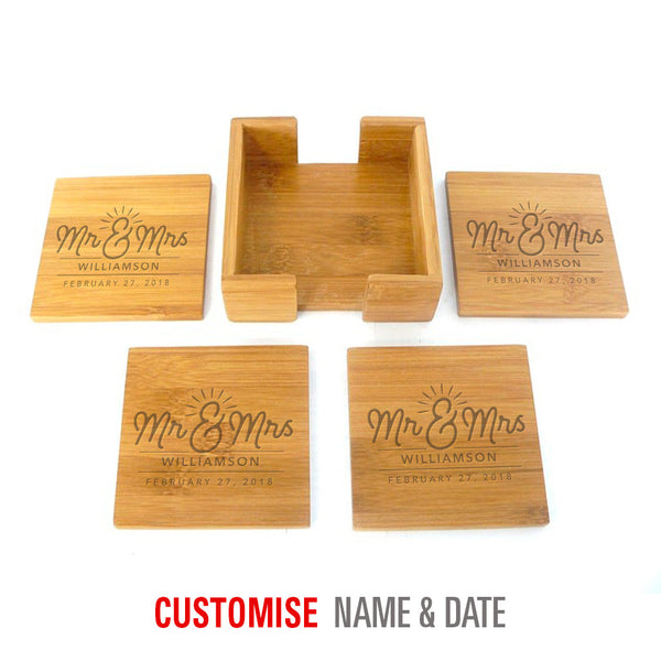 Bride & Groom, Mr & Mrs, Wedding Keepsake, Laser Engraved Personalised, His And Hers Gift, Makes Perfect Couples Gift, Bamboo Coaster Set of 4