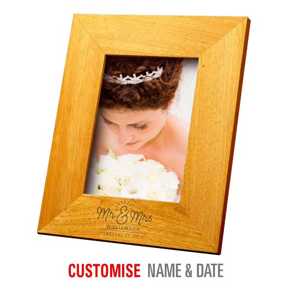 Bride & Groom, Mr & Mrs, Wedding Keepsake, Laser Engraved Personalised, Oak Photo Frame, His And Hers Gift, Makes Perfect Couples Gift