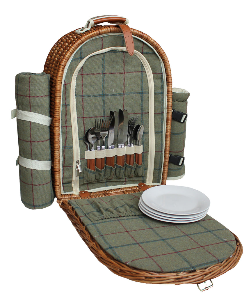 Picnic Hamper, Back Pack for 4 People in Green Tweed