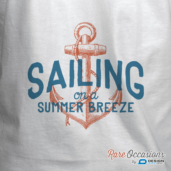 Sailing on a Summer Breeze, Sailing Shirt or Gift For Sailors, Sailing T Shirt, Nautical, Beach Shirt, Boat Shirt, Boating Shirt, Men's Crew Neck!