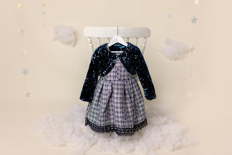 KHLOE - GIRLS DRESS IN NAVY CHECK & SEQUINS BOLERO