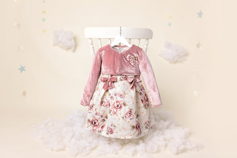 Ruby - Girls Pink Vintage Rose Dress & Velvet Bolero