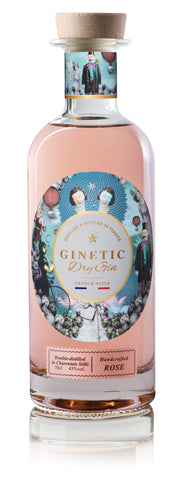 GINETIC ROSE, Dry Gin 43°, Distillé et Embouteillé en France, 70cl