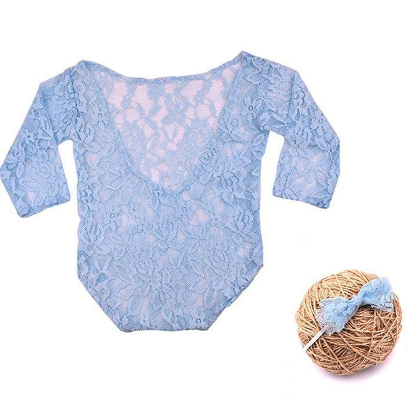 New Born Baby Blue Lace Romper & Bow Set Photography Prop (3 Months)