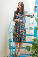 Quirky Blue Maternity & Nursing Swing Dress - MOMZJOY.COM