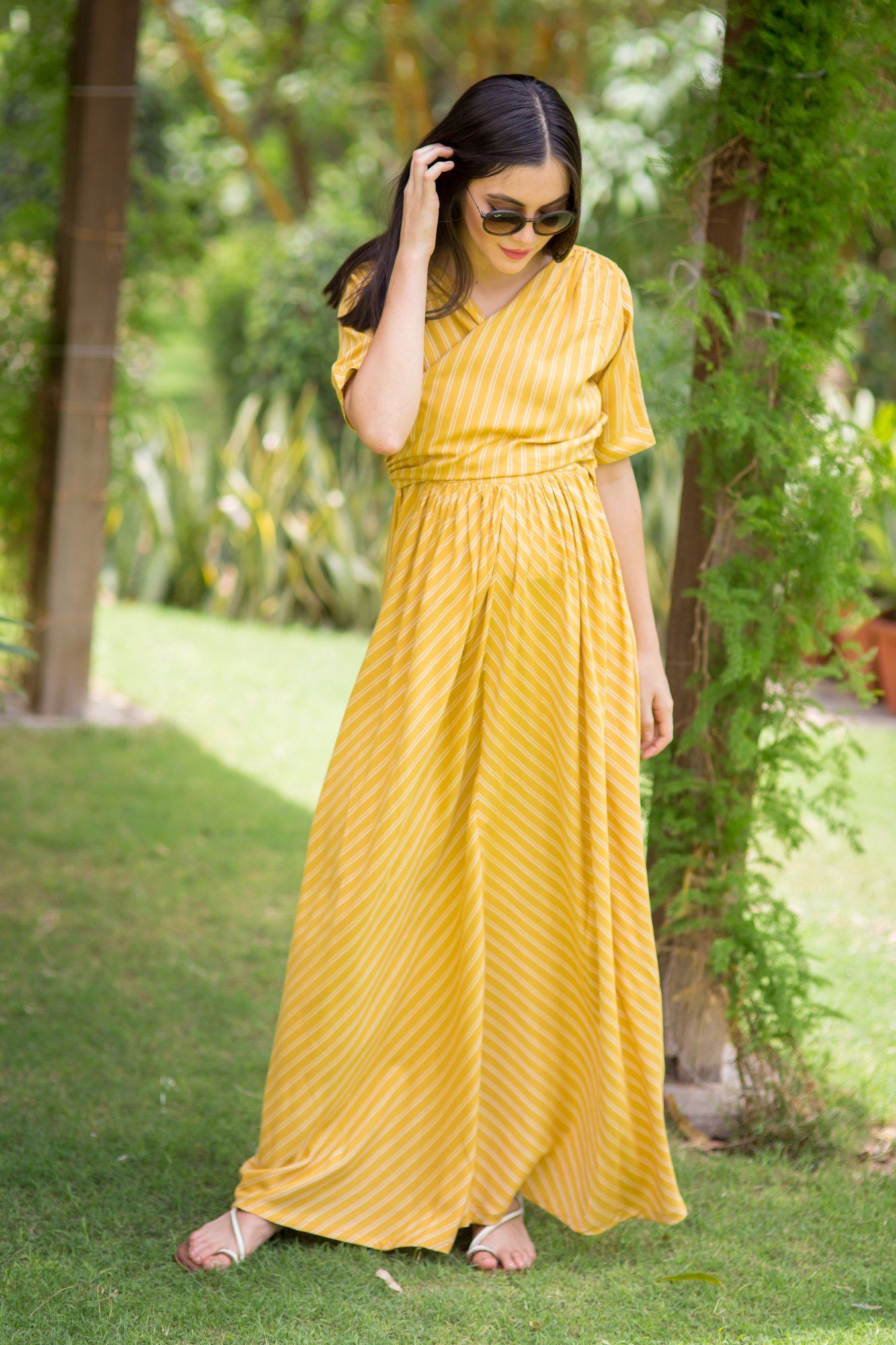 Tuscany Striped Maternity & Nursing Wrap Dress