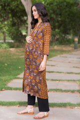 Earthy Wind Maternity & Nursing Kurta - MOMZJOY.COM