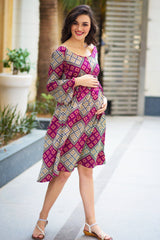 Maze Geometrical Maternity & Nursing Dress