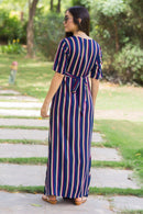 Nautical Striped Maternity & Nursing Wrap Dress