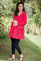Tangy Red Gathered Maternity Top