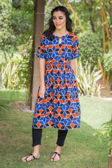 Azure Orange Concealed Zip Nursing Kurta