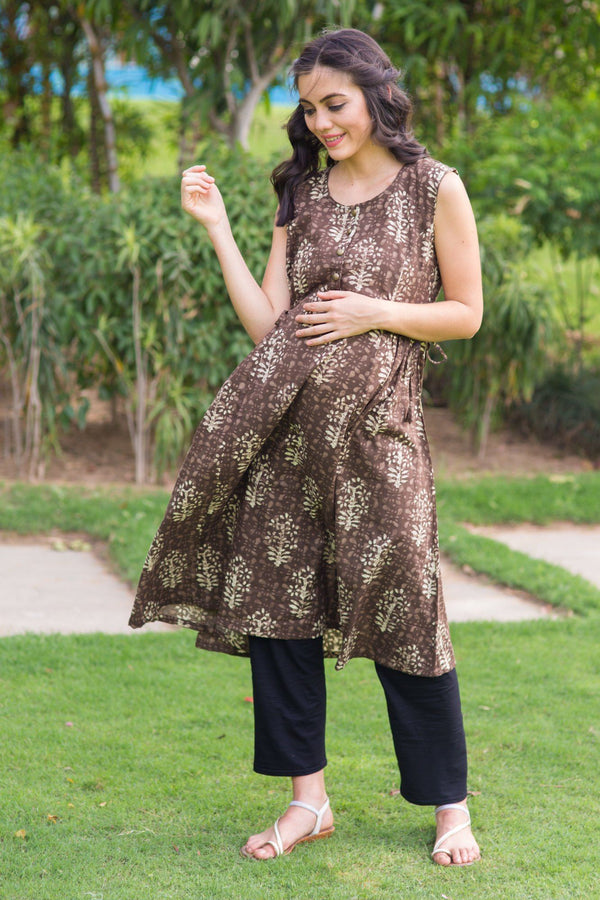 Cedar Block Print Moonflower Nursing Kurta - MOMZJOY.COM