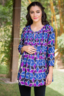 Geo Print Pintucks Maternity & Nursing Top - MOMZJOY.COM