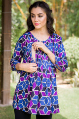 Geo Print Pintucks Maternity & Nursing Top