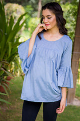 Denim Bell Maternity Top