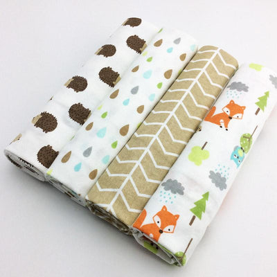 100% Cotton Fox Forest Baby Swaddles (Set of Four) - MOMZJOY.COM