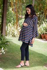 Royal Striped Gathered Nursing Top