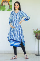 Ocean Maternity & Nursing Dual Cowl Dress Kurta