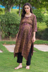 Walnut Gold Embellished Maternity & Nursing Kurta