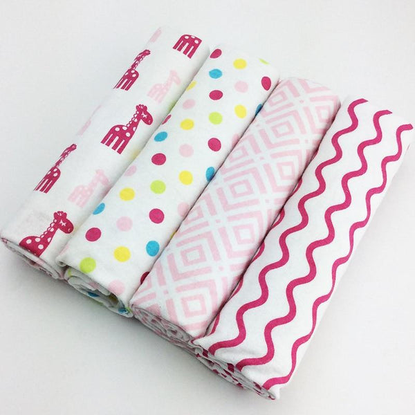 100% Cotton Giraffe Polka Baby Swaddles (Set of Four) - MOMZJOY.COM