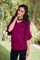 Berry Bell Sleeves Maternity Top - MOMZJOY.COM
