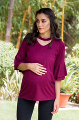 Berry Bell sleeves Maternity Top