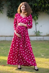 Cherry Red Floral Maternity & Nursing Wrap Dress - MOMZJOY.COM
