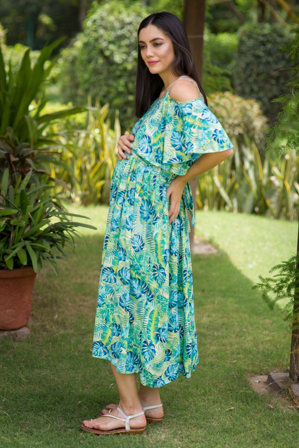 Chirpy Leafy Cold Shoulder Maternity & Nursing Maxi - MOMZJOY.COM