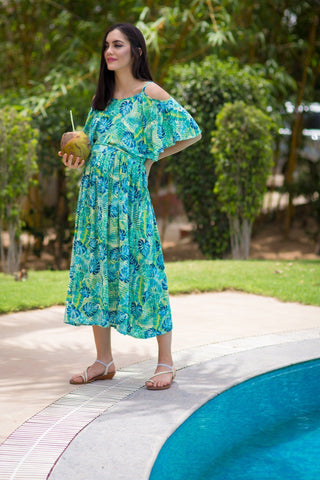 Chirpy Leafy Cold Shoulder Maternity & Nursing Maxi