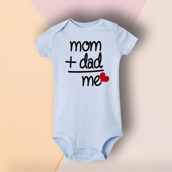 Baby Blue Mom Plus Dad Love Printed Romper (0-3 months) - MOMZJOY.COM