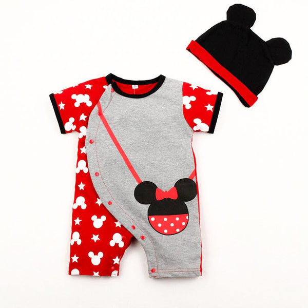 100% Cotton Minnie Baby Romper with Matching Hat (0-6 months) - MOMZJOY.COM