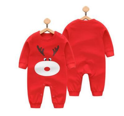 100% Cotton Cute Red Reindeer Baby Romper (0-3 months) - MOMZJOY.COM